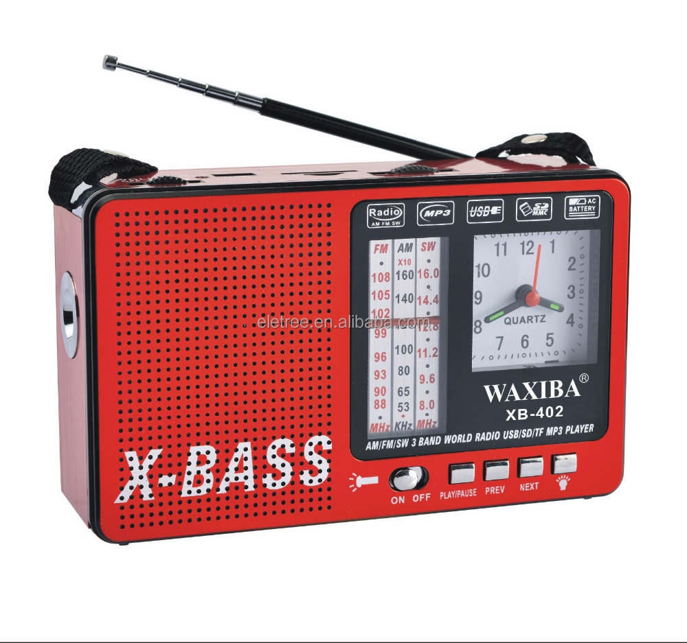 wholesale chinese portable stereo AM/FM/SW 3 band world radio with USB/SD/TF MP3 Player