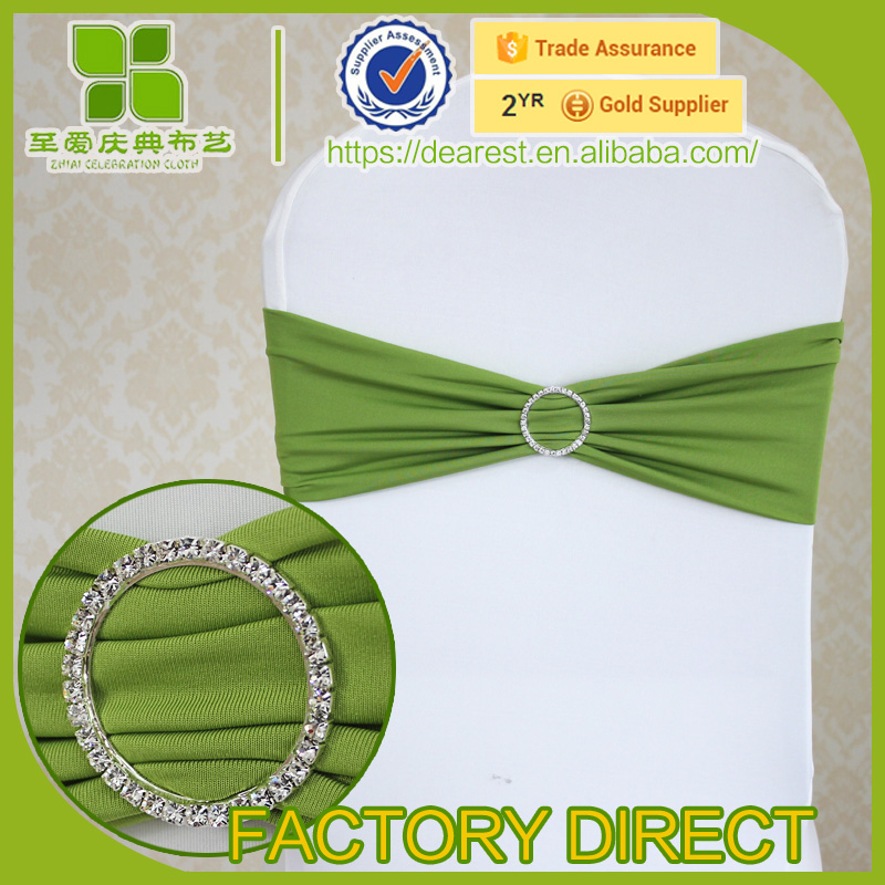 wedding spandex chair sash with matel buckle, rhinestone ribbon buckle
