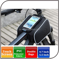 2015 hot sell bike saddle bag 4.7 inch 5.7 inch waterproof touchscreen leather bicycle frame bag