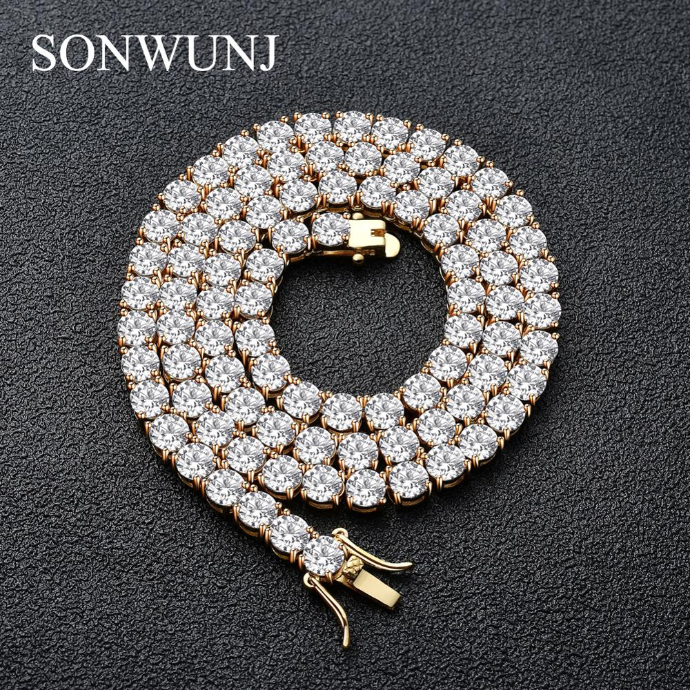 3mm 4mm 5mm Copper Zircon Tennis Chain <strong>1</strong> Row Necklace Hip hop Bling Jewelry Gold Silver Men CZ Chain Necklace Iced Out CN033