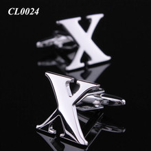 Cool Manufacturer Mens Accessories Cuff Links China Wholesale X Shape Innitial Letter Alphabet X Cufflinks