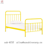 modern simple design european/ american style wooden slats metal queen size bed frame, in yellow