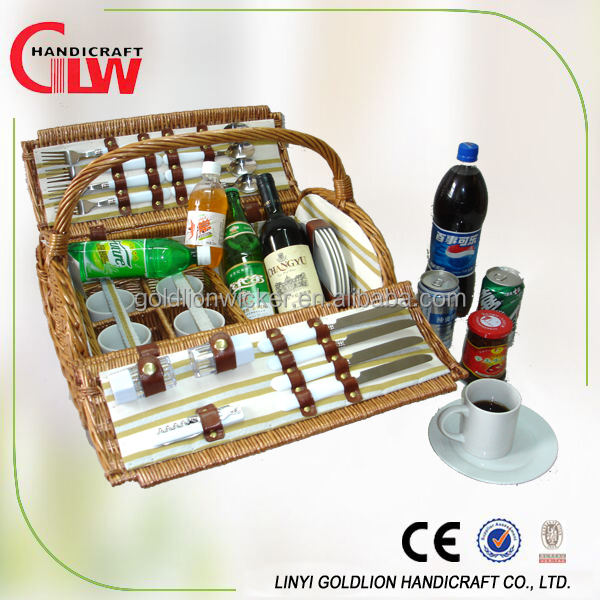 4 Person Wicker Picnic Hamper High Quality Empty Wicker Wine Picnic Basket