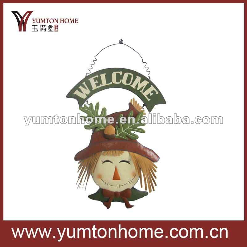Metal harvest scarecrow welcome door or wall hanging for home or garden decorations