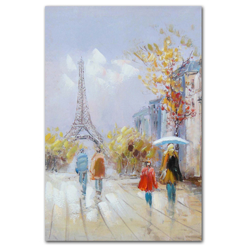 Handmade abstract mother and child on paris street portrait canvas oil painting
