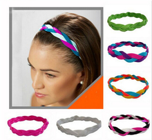 Woman & Girl Soft Nylon Braided Mini Sports <strong>Headbands</strong> Silicone <strong>headband</strong> keep the Elasticit band