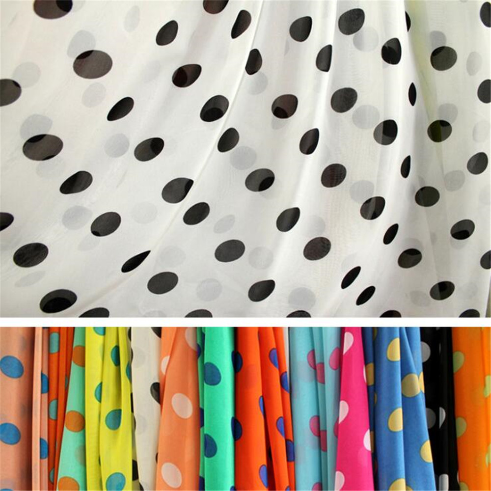 Make dress digital printed polyester polka dot chiffon fabric