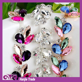 Colorful rhinestone cup chain AAA quality with colorful stone for garment decoration