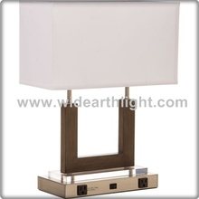 UL CUL Listed Wood & Metal Hotel Table Lamp With Base Switch And Power Outlet For Bedroom T50078