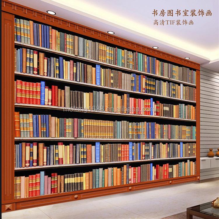 Living room bookshelf wallpaper 3d office mural wallpaper for Bookshelf mural wallpaper