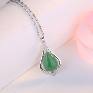 Green gemstone jewelry S925 silver pendant