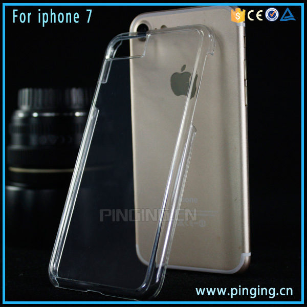 Wholesale phone accessory crystal clear transparent hard plastic pc case for iphone 7
