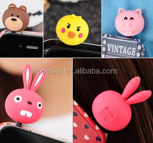 3.5mm Mobile Phone Earphone Dustproof Jack Plug Cute Anti Dust Plug For Smartphone