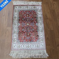 2x3ft Red color blue floret hand made persian carpet