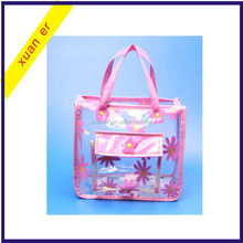 Wholesale fashion transparent plastic pvc zipper cosmetic bag