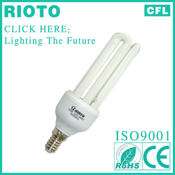 New Product PBT Housing E14 15W 3U Energy Saving Lightbulb
