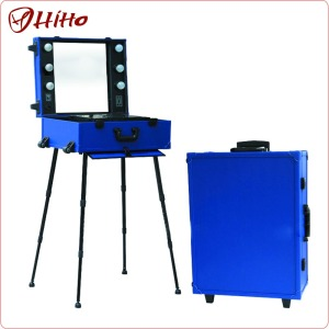 Hight Quality Professional Rolling Trolley Makeup Suitcase With Lights