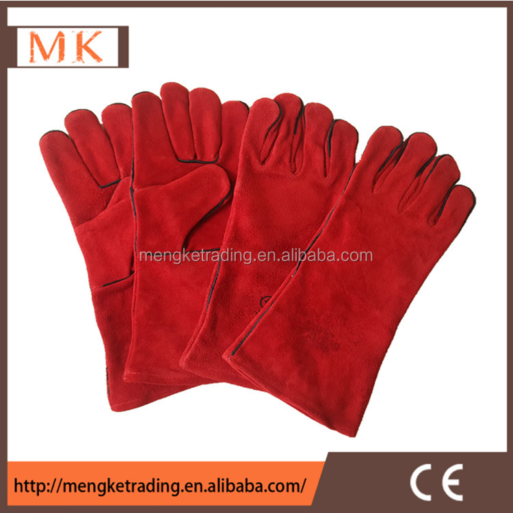 Electric hand protection red cow split leather welding glove