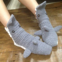 Hot Sale Hand Crochet Adult Women Shark Socks