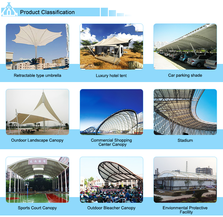 High quality pedestrian street roofing canopy tent shade structure with metal structures