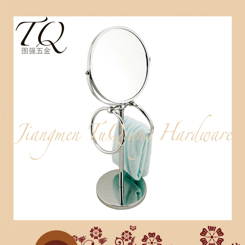 Metal Standing Mirror with Two Towel Rack