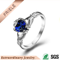 latest AAA cz stone heart shape claddagh ring 925 sterling silver jewelry