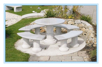 decorative outdoor white granite tables and benches