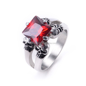 Trendy classic 316L stainless steel 4pcs skull rings Pink &Red &White CZ crystal inlaid rings for women