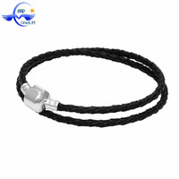Fashion European Genuine Leather Bracelet Jewellery Cheap Custom Double Leather Bangle Adjust