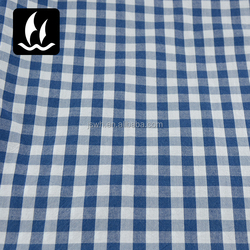 Cotton Yarn Dyed Middle Blue And White Plaid Fabric