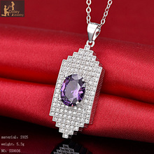 2017 new arrival fahion 925 silver amethyst necklace