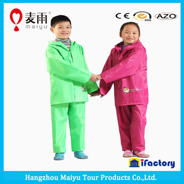 rainproof foldable polyester kids rainwear