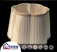 wholesale pvc fabric lamp shade,hexagon soft back pleated silk fabric hotel lamps hade with trim and hot selling