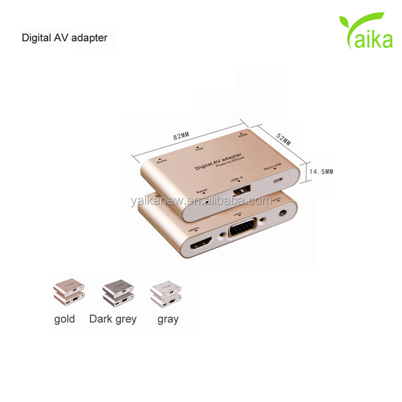 Yaika Digital AV Multiport <strong>Adapter</strong> for iphone and android to HD MI+VGA+audio <strong>adapter</strong>