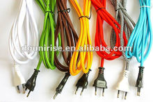 ac textile braided flexible power cord cable