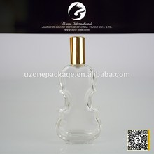 100ml violin shaped glass with metal cap perfume bottle