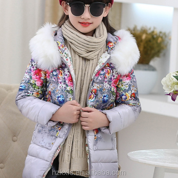 Printed 2016 high sales girls warm down jacket ,Girl in winter clothes