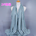 Wholesale NEW design plaid cotton long shawls popular hijab wrap muslim scarves GBS217