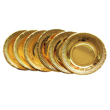 Best Supplier Stocked Round Disposable Laminate Gold Foil Paper <strong>Plate</strong> For Birthday Party Small MOQ