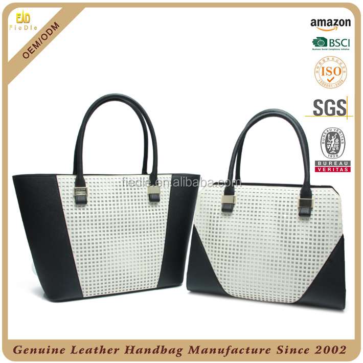 CSS1416-001&CSS1415-001 2016 S/S Top Quality Genuine Leather bag sets simple black white ladies leather totes