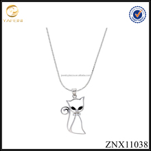 New design lovely cat crystal paved 18K gold plated 925 sterling silver pendant Necklace