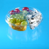 disposable plastic fruit container with 3 compartments