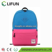 2017 Promotional fashion korean school backpack blue and pink color packbag,school bag,laptop bag
