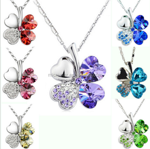 Plated Silver Pendant Four Leaf Clover Heart Shaped Crystal Necklace
