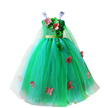 China Wholesale Flower Girl Children Green Sleeveless Party Prom Tulle Dress