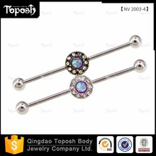 Toposhbodyjewelry Surgical Stainless Steel Opal Industrial Barbell Piercing Jewelry