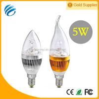 New generation led candle light AC85-265v 5w round/pull tail led candle bulb lights e27