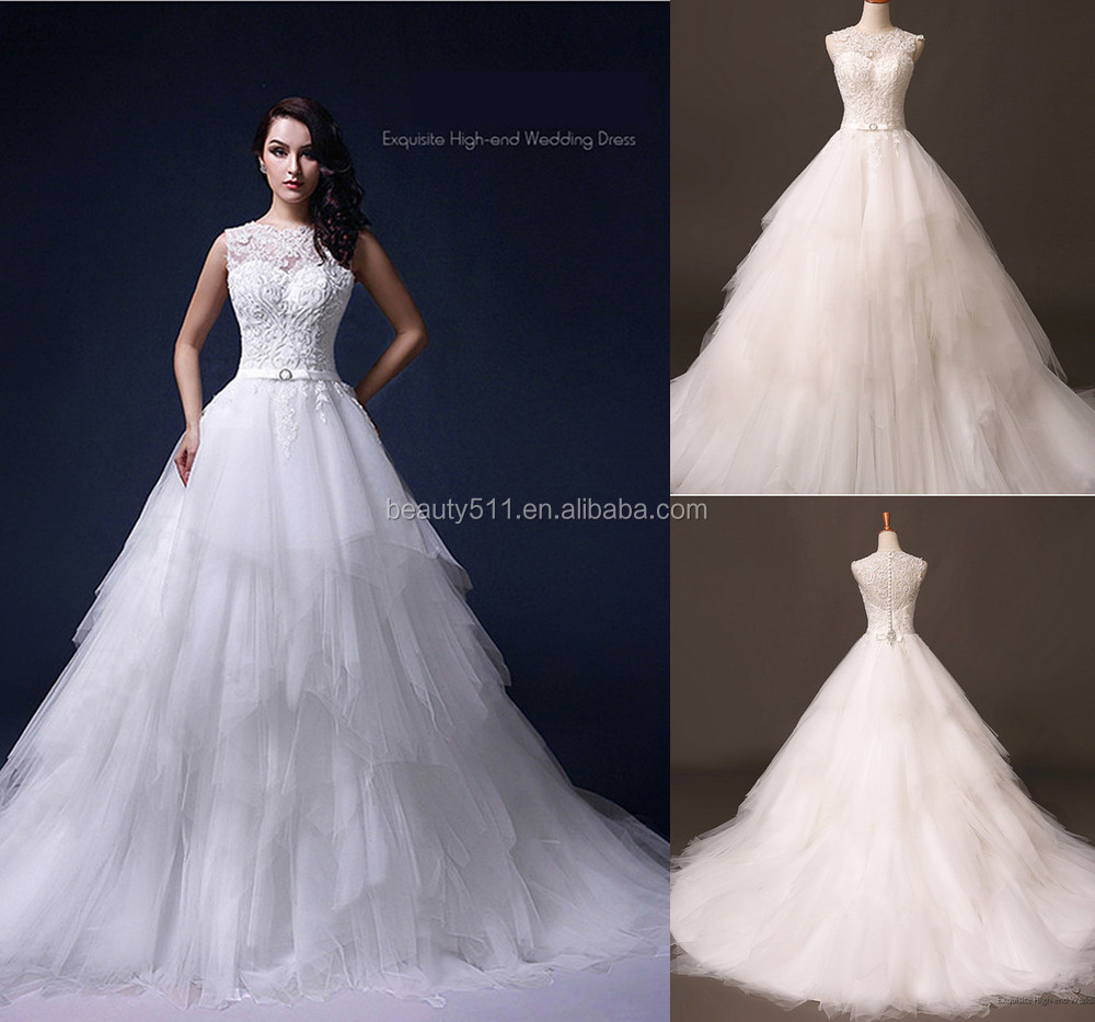 2020 New Elegant Embroidered long tail Sleeve ball gown Lace long sleeve wedding dress bridal gown  vestido de novia  s001