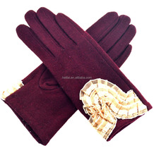 Ladies Lace Ruffled Bordeaux Burgundy Unlined Wool Dress Gloves