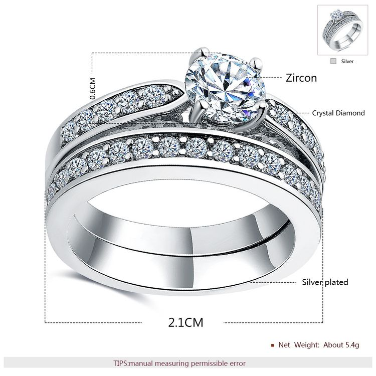 Delicate 2 Pcs Platinum Plated Ring Set Round Cut Cubic Zirconia Wedding Diamond Couple Rings